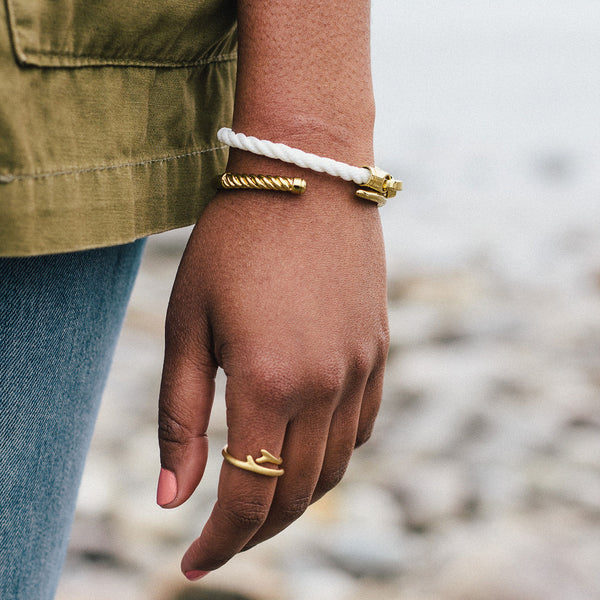 Slim Fid Cuff Bracelet in polished brass