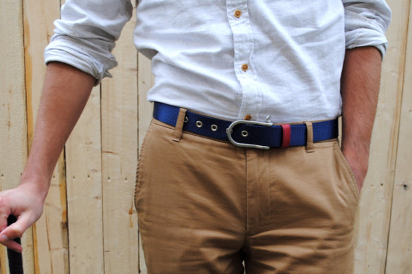 Saturday Webbing Belt with Navy and Red Nylon and Nickel D-Shackle