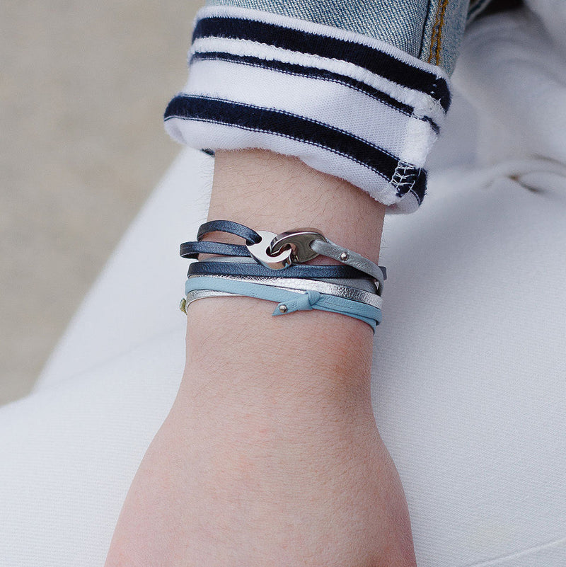 Tandem Leather Bracelet with Polished Stainless Steel Brummels in Blue Ice and Blue Storm