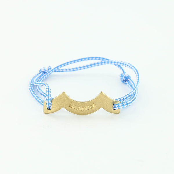Wave Chaser Rope Bracelet in Brass in blue and white with slip knots