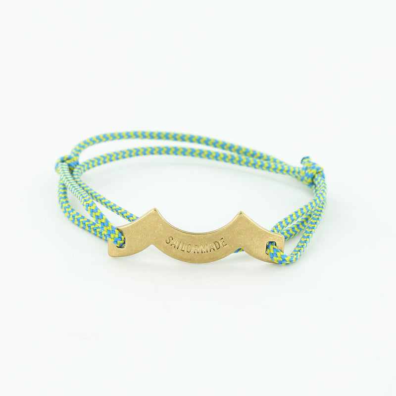 Wave Chaser Rope Bracelet in Brass in blue green and blue with slip knots
