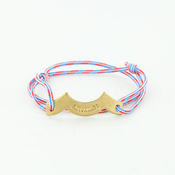 Wave Chaser Rope Bracelet in Brass in blue red and white with slip knots