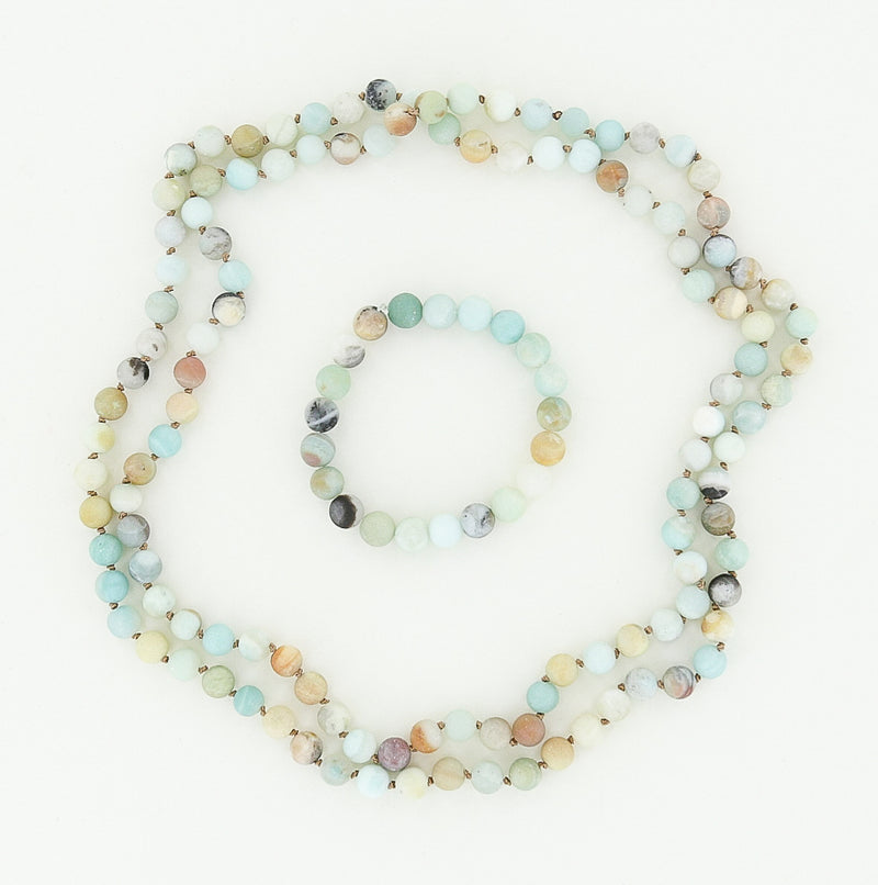 beaded necklace and bracelet in amazonite