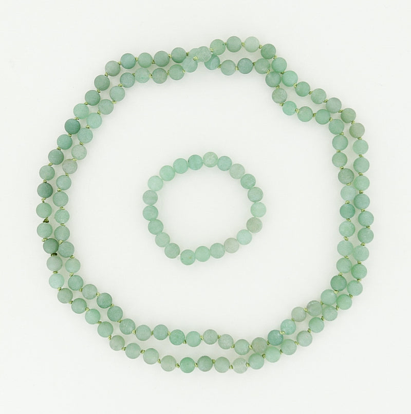 beaded necklace and bracelet in green aventurine