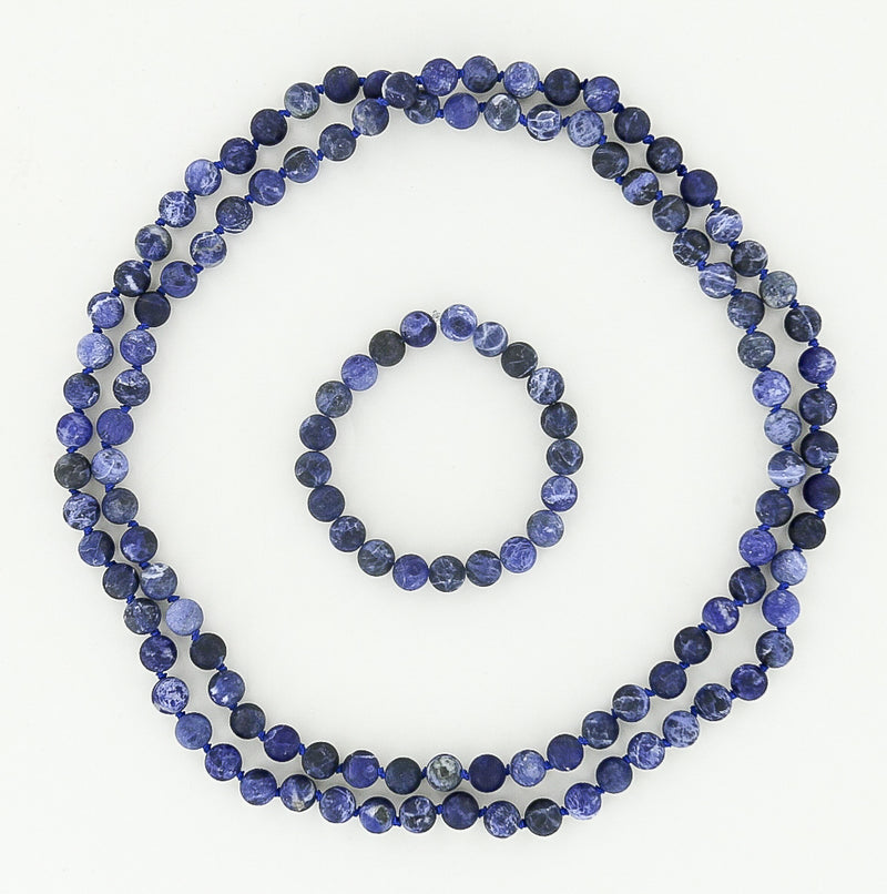 beaded necklace and bracelet in sodalite