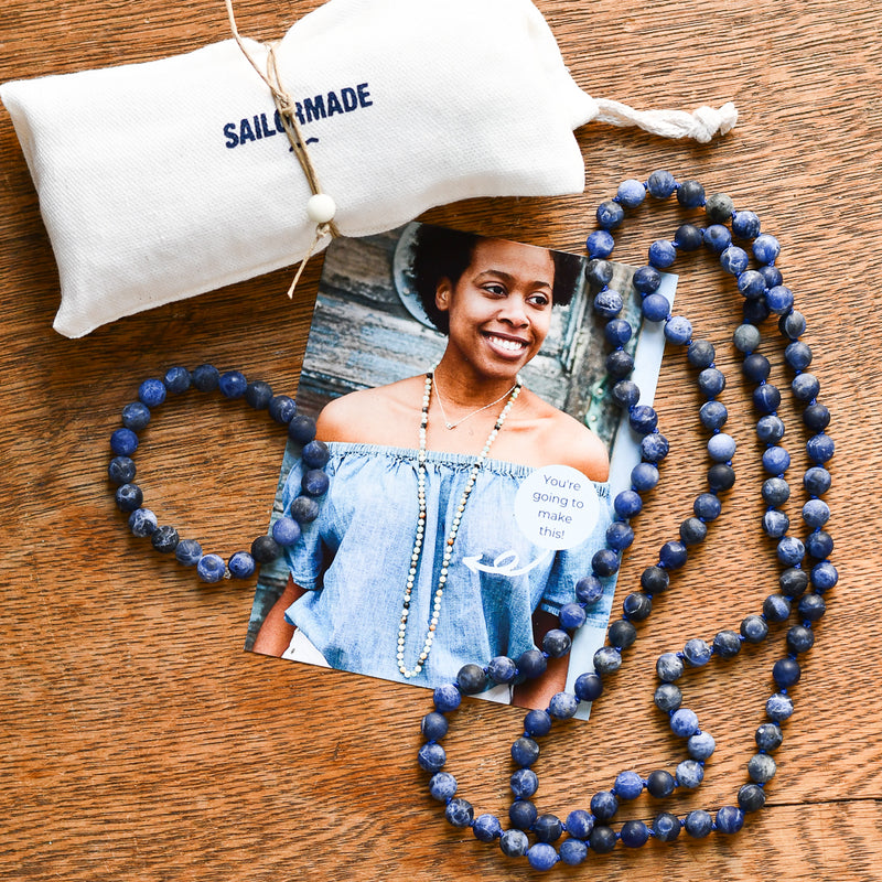 Whatknot Beaded Necklace + Bracelet Kit in Sodalite