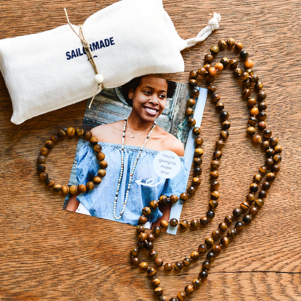 diy beading kit necklace and bracelet in tiger eye