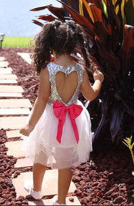 Fairy at Heart Dress Hot Pink/Silver
