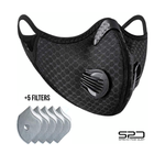 Breathable/Washable Protective Mesh Face Mask with Active Carbon Filters, Adjustable Straps with 5 Filters by Spread Pixie Dust TM (Black)