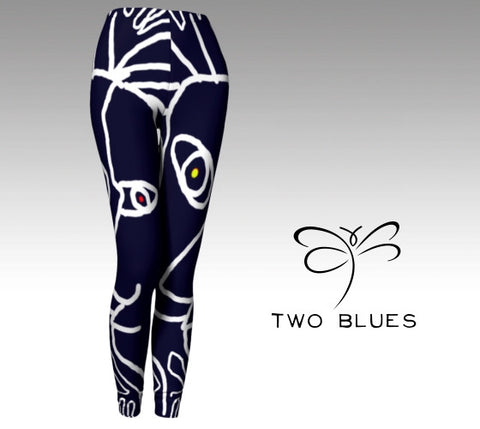 'Two Blues' Women's ArtWear Leggings
