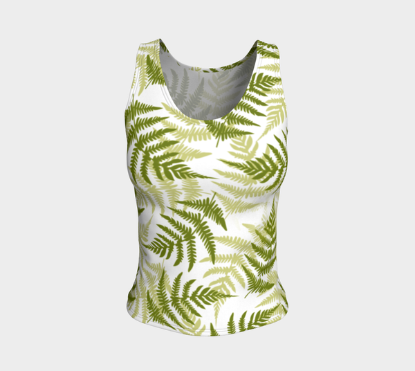'Ferns' Fitted Tank Top