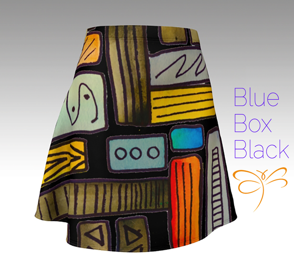 'Blue Box Black' Flare Skirt