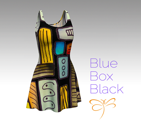 'Blue Box Black' Flare Dress