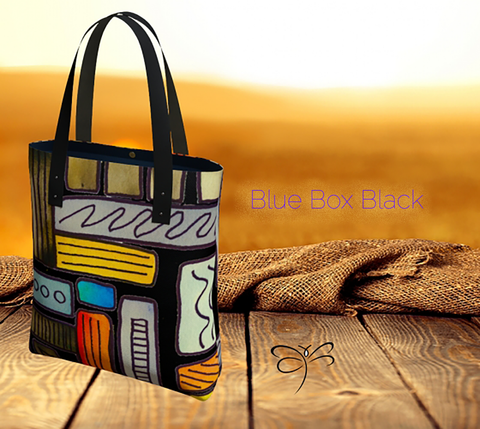 'Blue Box Black' Tote Bag