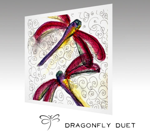 'Dragonfly Duet' watercolor print