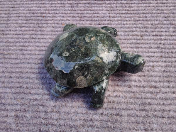 Carved Black Aggregate Stone Turtle
