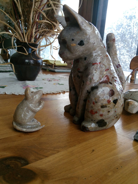 Carved Pudding Stone Cat and Mouse