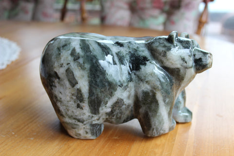 A Carved Stone Bear (large black with white quartz)