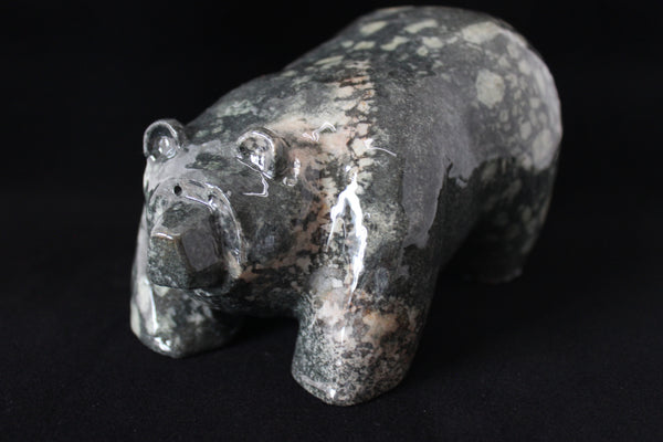 Carved Stone Bear (small black w/white spots)#2