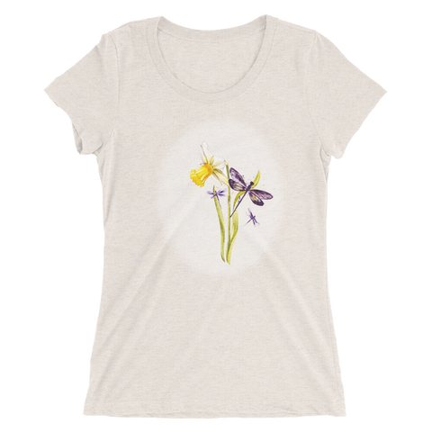 'Dragonflies and Daffodil' Ladies' short sleeve t-shirt