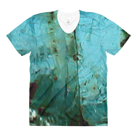 'Aquamarine (March)' Sublimation women's crew neck t-shirt