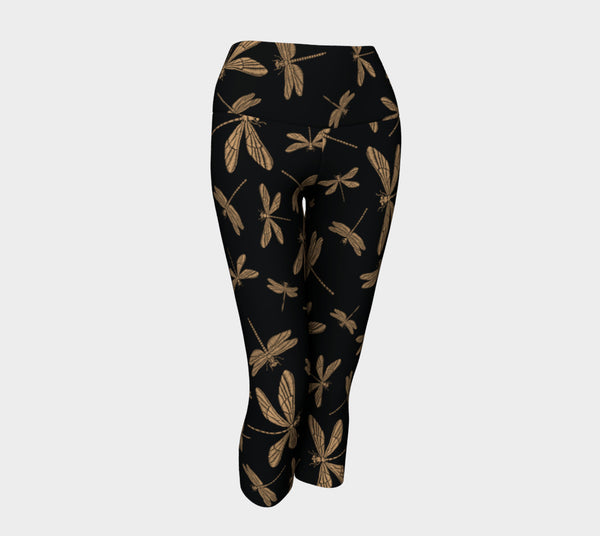 'Dragonfly' black Yoga Capris