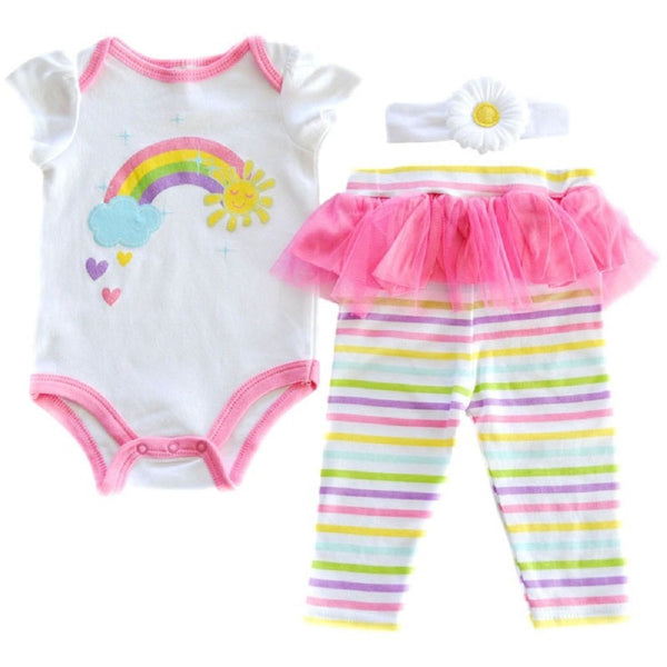Baby Girl 3 Piece Rainbow Outfit