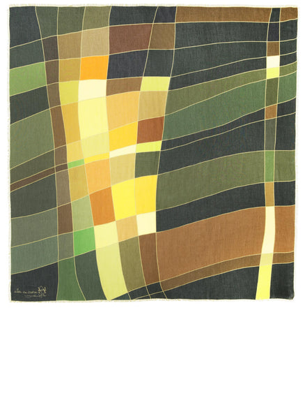 Full view of Alba Amicorum's square scarf inspired by aerial views of fields. Scarf has autumnal, green, brown and warm yellow hues in a fluid weave pattern.
