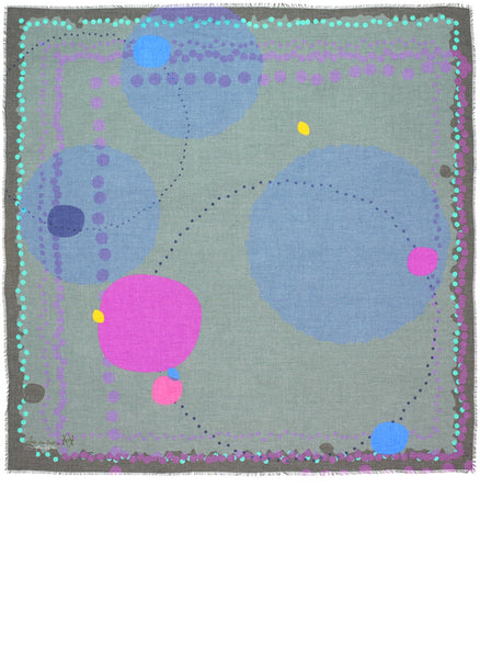 Full view of Alba Amicorum's square scarf named Ascending Space. Limited edition scarf in subtle hues of muted grey-greens, mauves and slate blues in varying sizes of dots and circles on a soft light fabric.