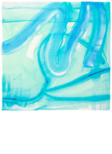 Full view of the square limited edition scarf named Before the Road. The aqua blues in water colours are enhanced by the softest high quality modal. The fluid gestural brush work forms abstract pathways.