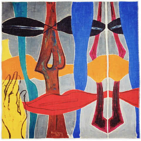 Man Ray non-abstraction, scarf adaptation, cashmere scarf
