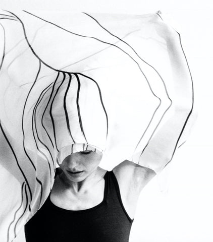 black and white photo, movement, fabric, woman