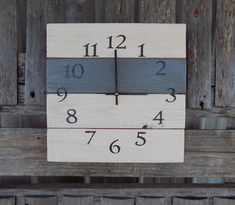 White and Grey Pallet Wood Clock, Rustic Wall Clock, Primitive Square Clock, White and Grey Clock, Wood Wall Clock, DIstressed Clock
