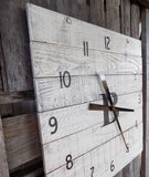 Large 24 inch White Washed Monogramed Pallet Clock - The Pallet Doctor
