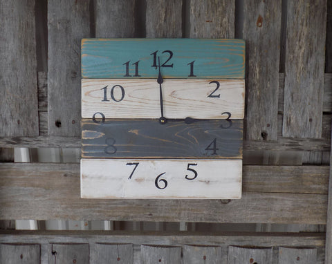 Farmhouse Wall Clock, Green, White, and Grey distressed. - The Pallet Doctor