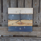 Square Farmhouse Pallet Wall Clock, White, Grey and Navy - The Pallet Doctor
