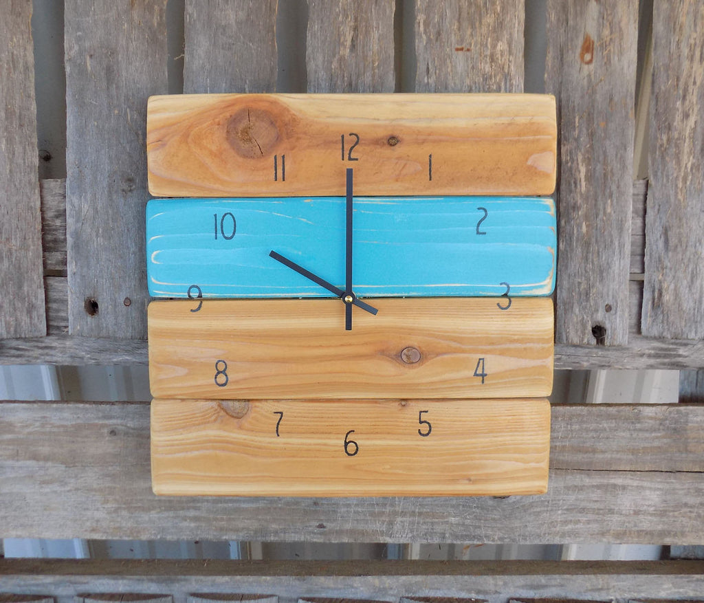 Rustic Turquoise Pallet Wood Wall Clock - The Pallet Doctor