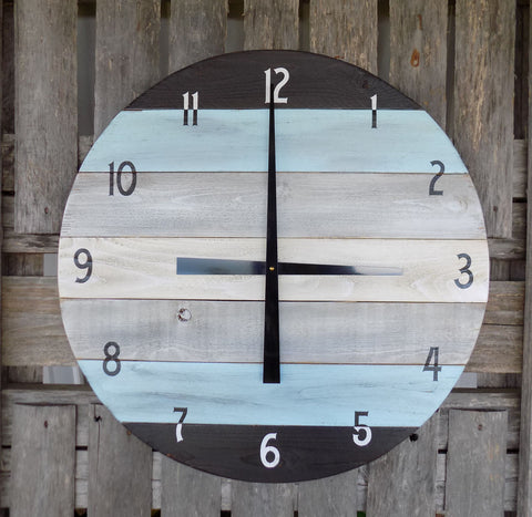 LARGE 24 inch Round Pallet Clock, Black and Blue Wall Clock - The Pallet Doctor