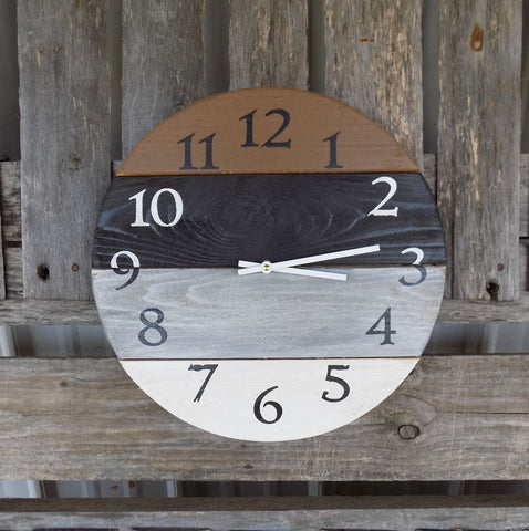 Primitive Round Pallet Clock, Brown Black Grey and White - The Pallet Doctor
