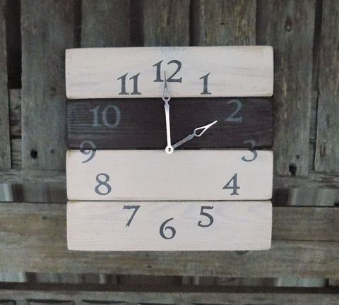 Rustic Pallet Clock, Primitive Wood Clock, Shabby chic Clock, Rustic wood clock, Primitive clock, white washed clock, farmhouse clock