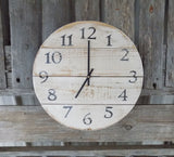 White Round Rustic Farmhouse Pallet Clock - The Pallet Doctor