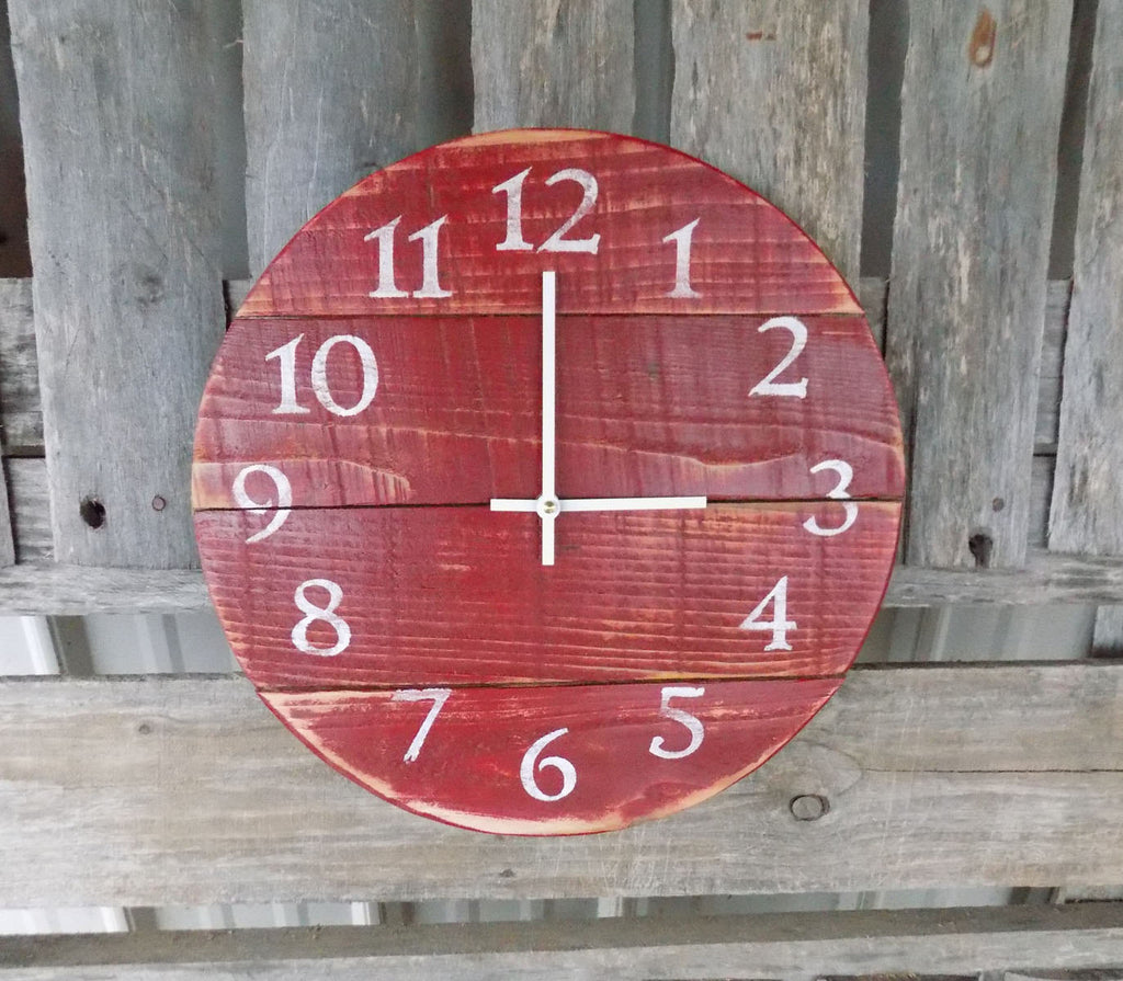 Primitive Round Red Pallet Wall Clock - The Pallet Doctor