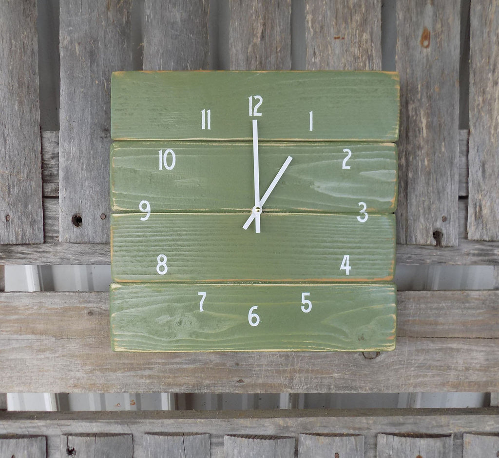 Rustic Green Pallet Wall Clock - The Pallet Doctor