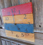 Red and Blue Pallet Wood Wall Clock - The Pallet Doctor