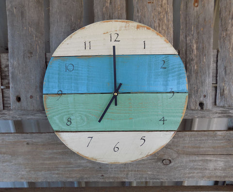 Rustic Round Planked Beach Clock, White, Blue, Green - The Pallet Doctor