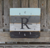 Monogrammed Wall Clock, Planked Pallet Clock in Blue Grey and Black - The Pallet Doctor