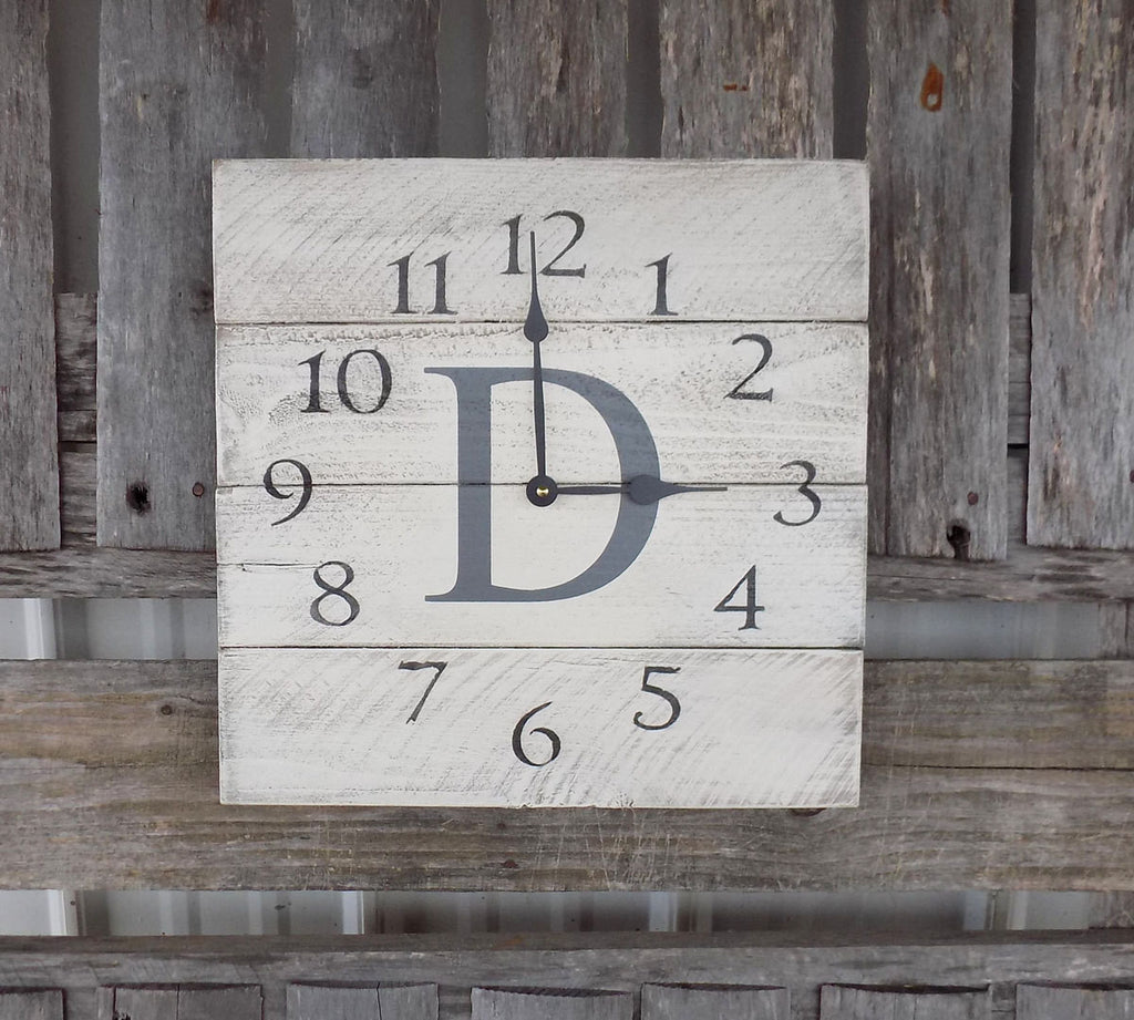 Rustic White And  Grey Monogrammed Planked Pallet Clock - The Pallet Doctor