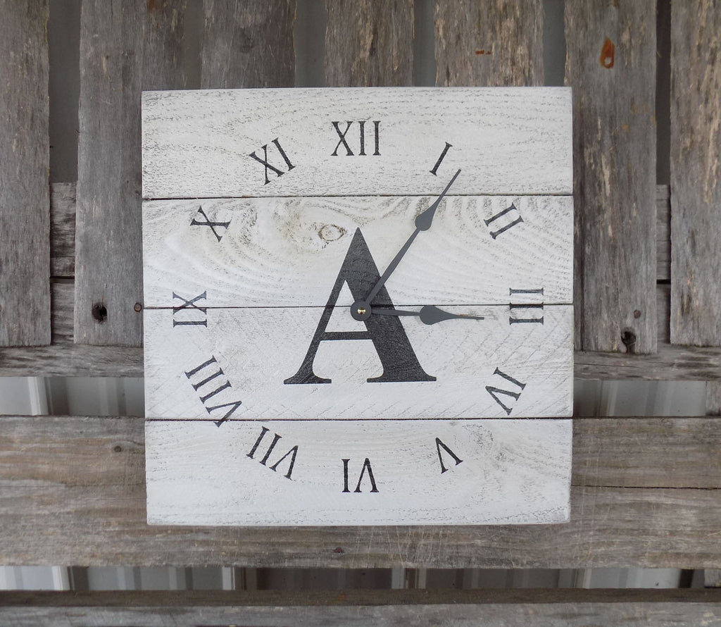Primitive White Planked Pallet Clock, Monogramed and personalized - The Pallet Doctor