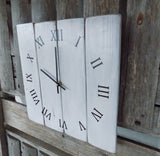Primitive White Vertical Planked Pallet Clock - The Pallet Doctor