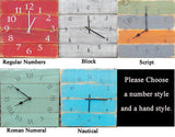 Turqoise Grey and Yellow Planked Pallet Clock - The Pallet Doctor